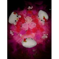"""Букет из мягких игрушек """"Kitty""""розовые розы"""